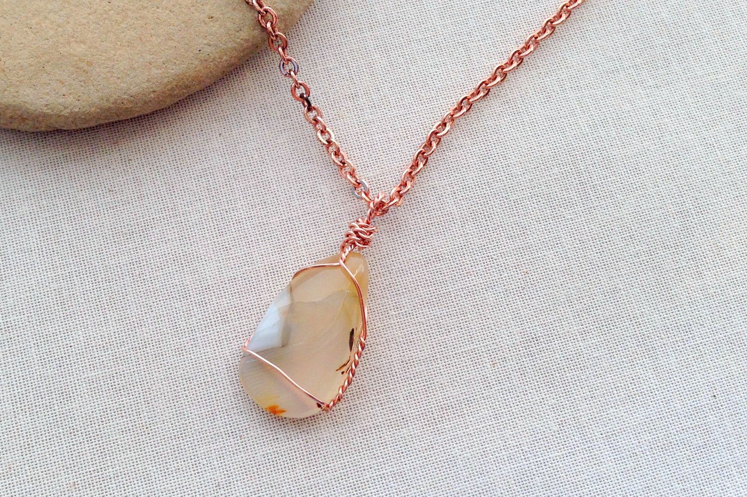 ooak necklace Agate necklace boho jewelry healing stones crystal necklace fantasy | hippie necklace brown wirewrap pendant