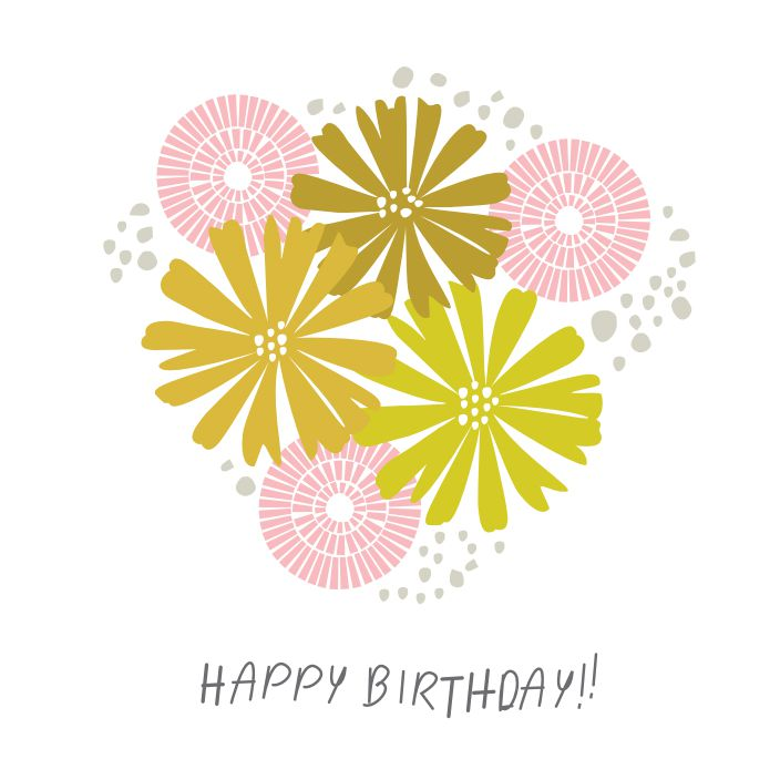 A Yellow And Pink Floral Birthday Card