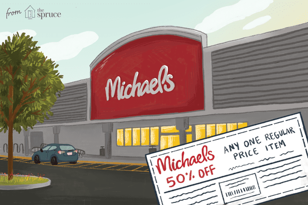 Illustration of Michaels store front with coupon