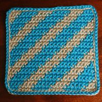 Diagonal Striped Afghan Square Worked in Single Crochet Stitch
