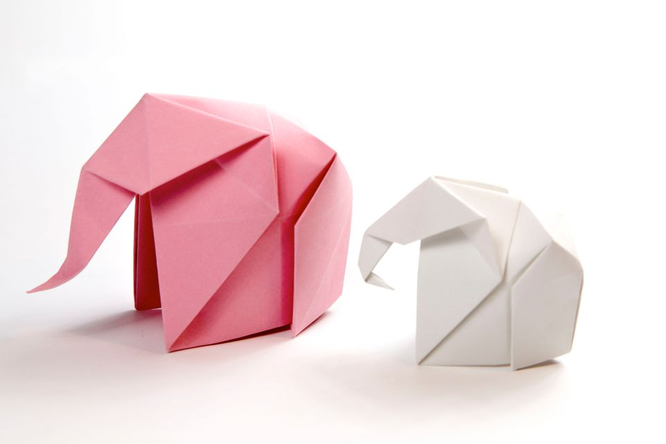 A pair of origami elephants