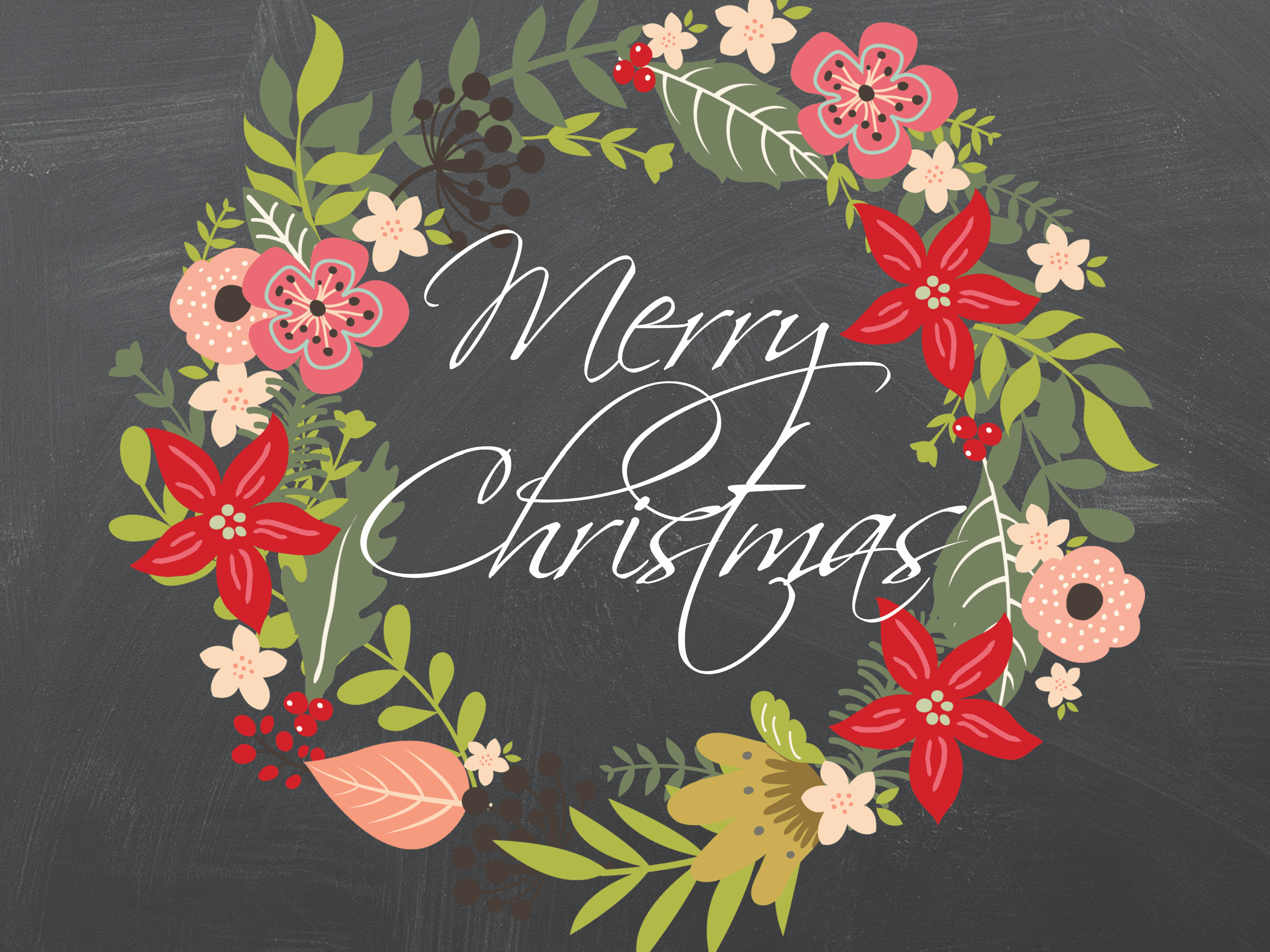 Chalkboard Christmas Wreath Drawing