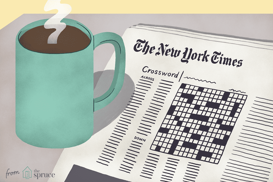 Illustration of a coffee mug next to crossword puzzle