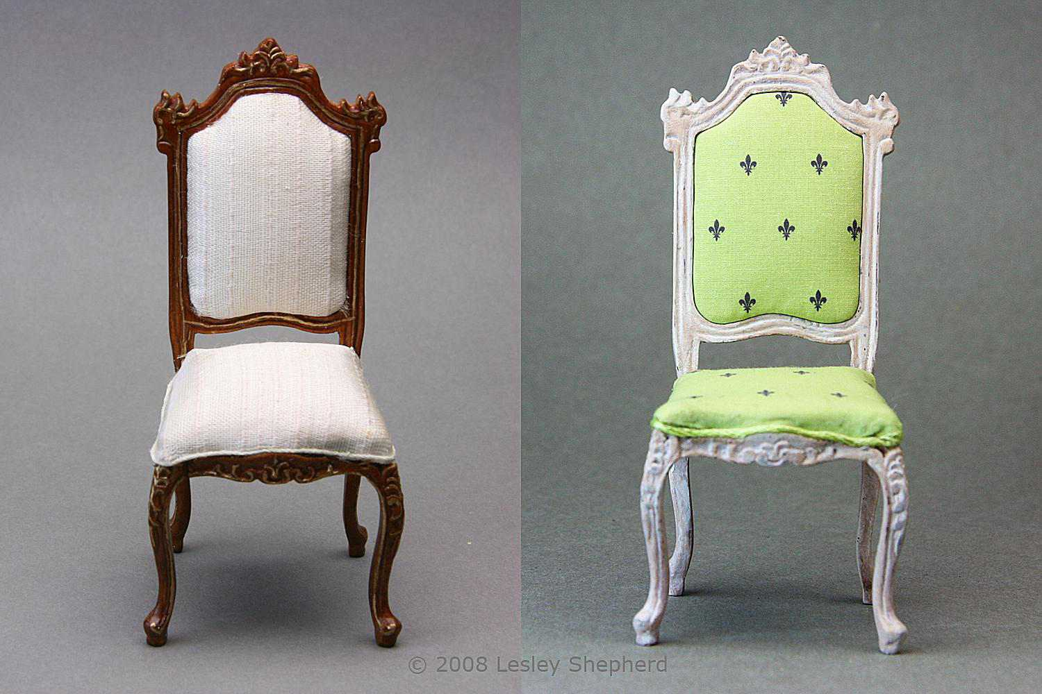 A dark wood finish chair with plain upholstery compared to the same chair in an antique finish.