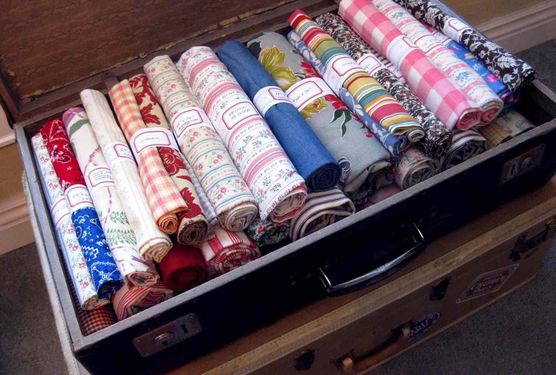 fabric inside vintage suitcase