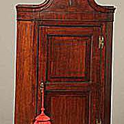 Ca. Mid-18th Century English Chippendale Oak Hanging Corner Cupboard