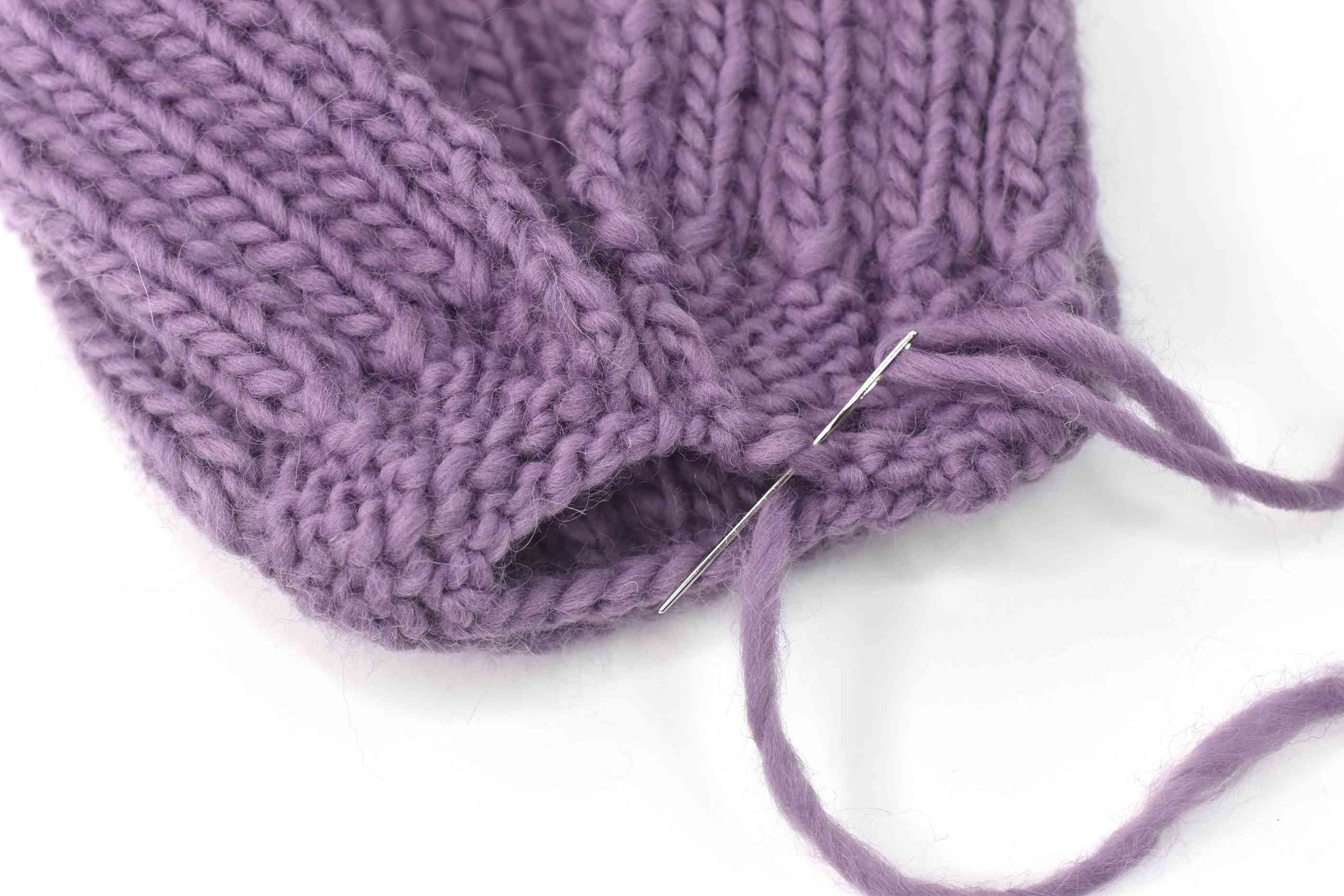Stitch the Seams Together on the Ribbed Hat