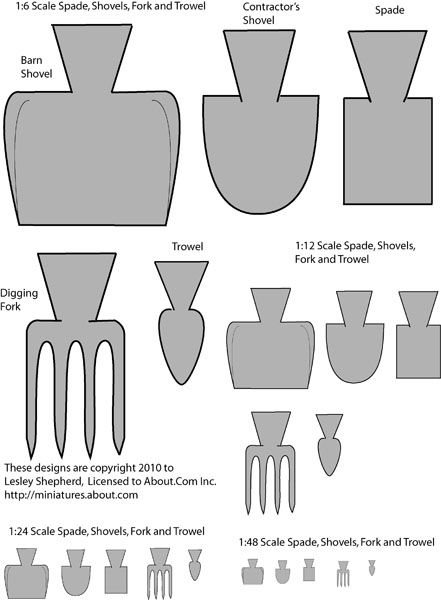Printable patterns for dolls house scale garden forks, spades, trowels, construction and barn shovel