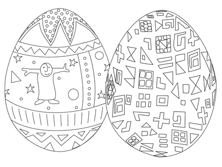 Two Easter Eggs With Designs Best Coloring Pages