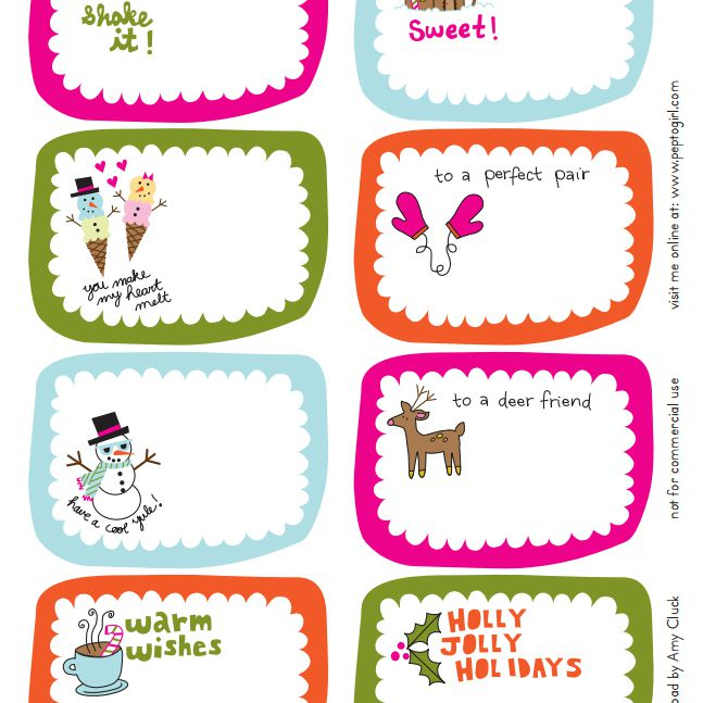 eight colorful christmas gift tags - Printable Christmas Name Tags