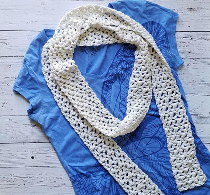 Linen Cotton Crochet Summer Scarf Free Pattern