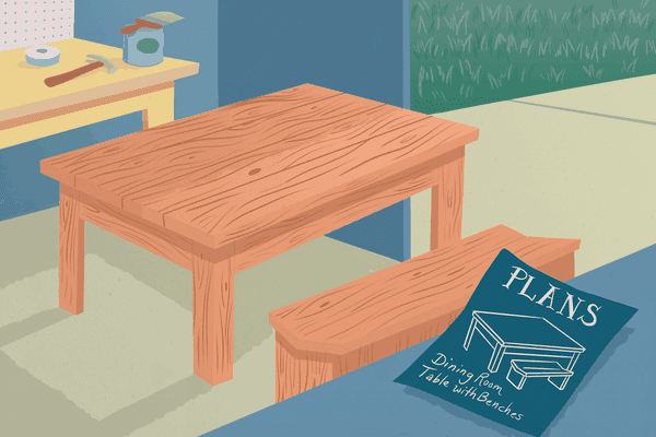 Illustration of a dining room built in a shed