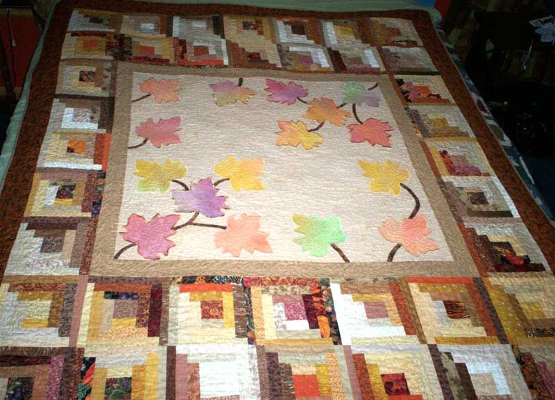Fall Days Log Cabin and Applique Quilt