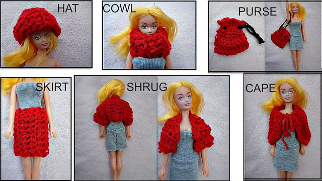 Crochet barbie clothing free patterns for hat, cowl, purse skirt, shrug, and cape