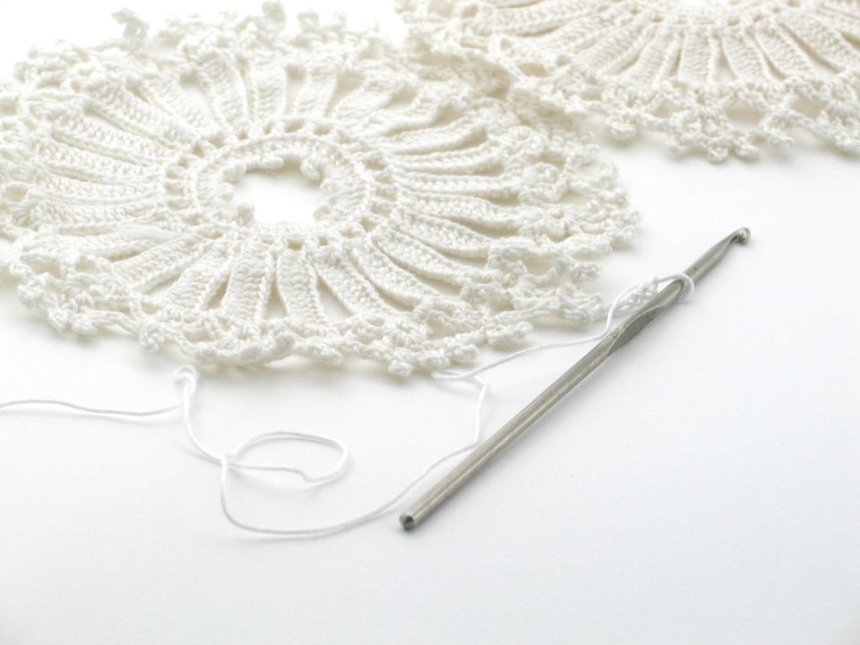 a crochet doily in progress