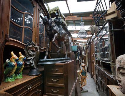 antiques in a narrow corner in a store