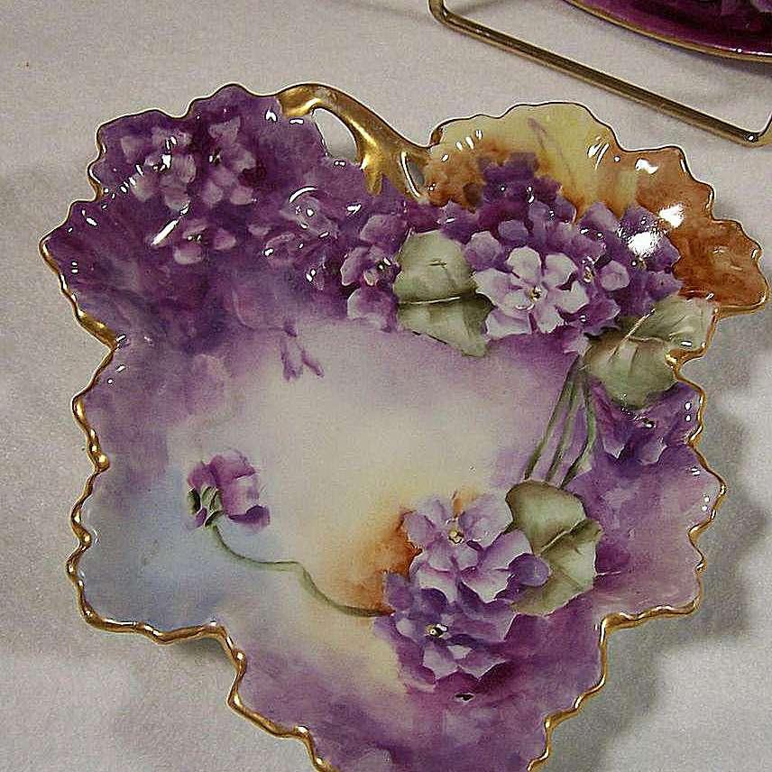 Guerin Limoges Violet Leaf Dish