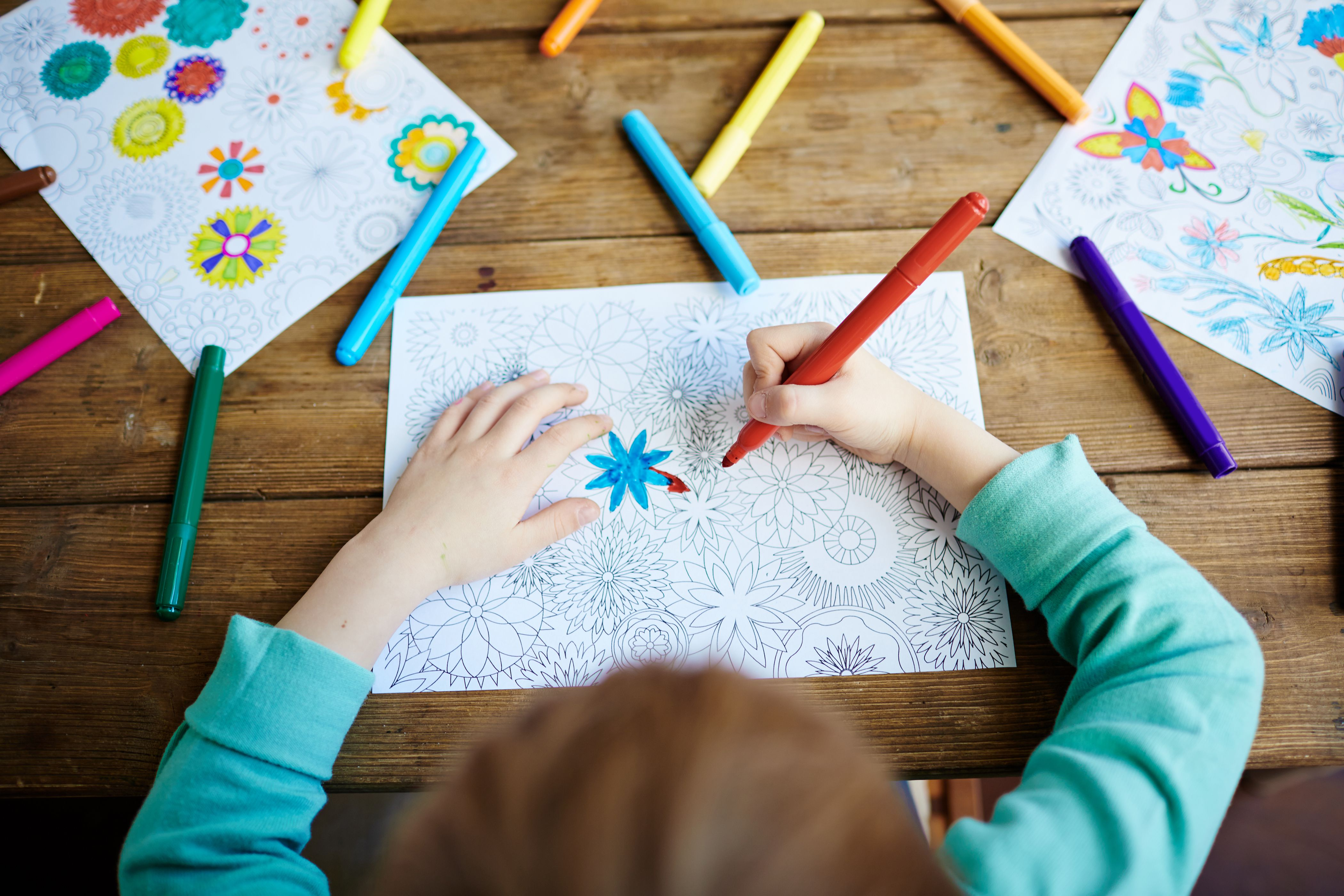 Young child coloring worksheet