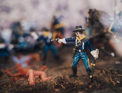 Action figures in battle