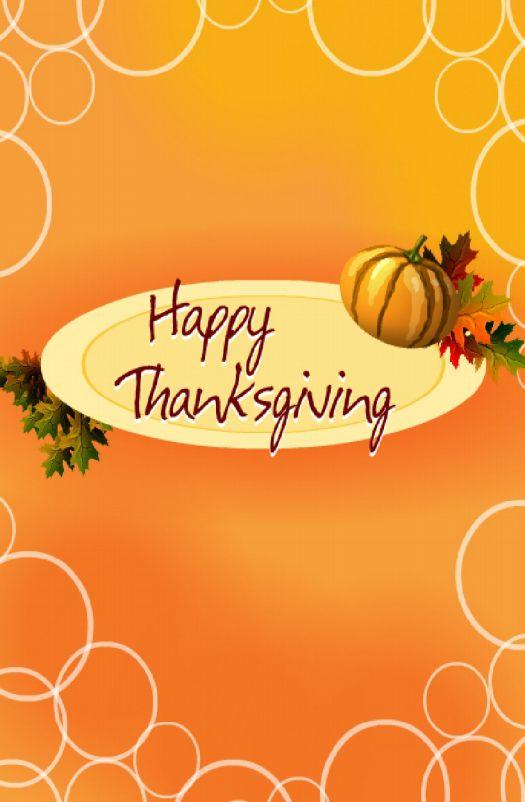 "An orange ""Happy Thanksgiving"" card."