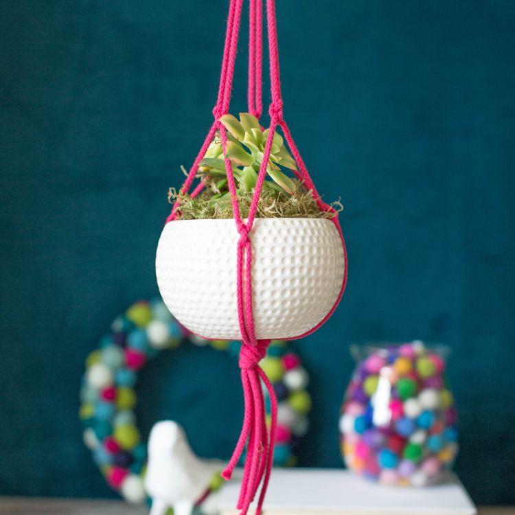 colorful macrame plant holder