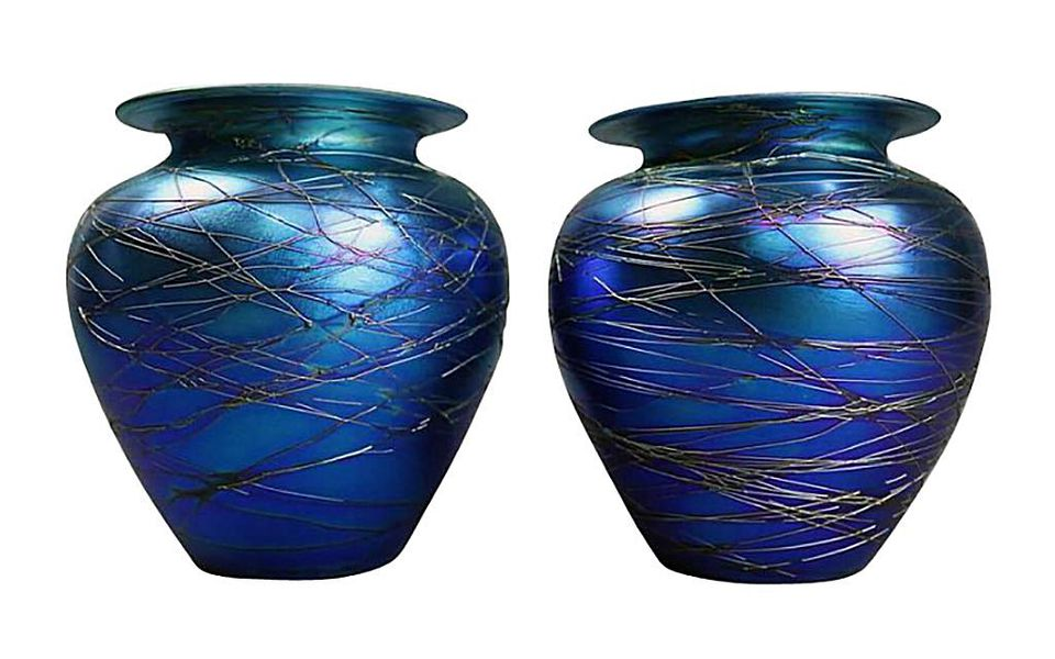 Pair of Antique Durand Threaded Art Glass Vases, c. Early 20th Century