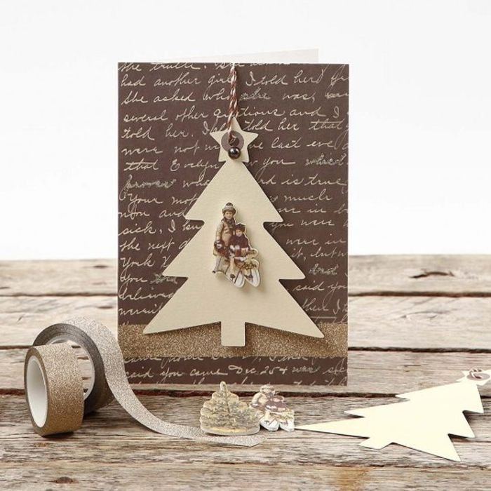 brown wood tree christmas card