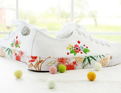 Embroidered sneakers by Flamingo Toes