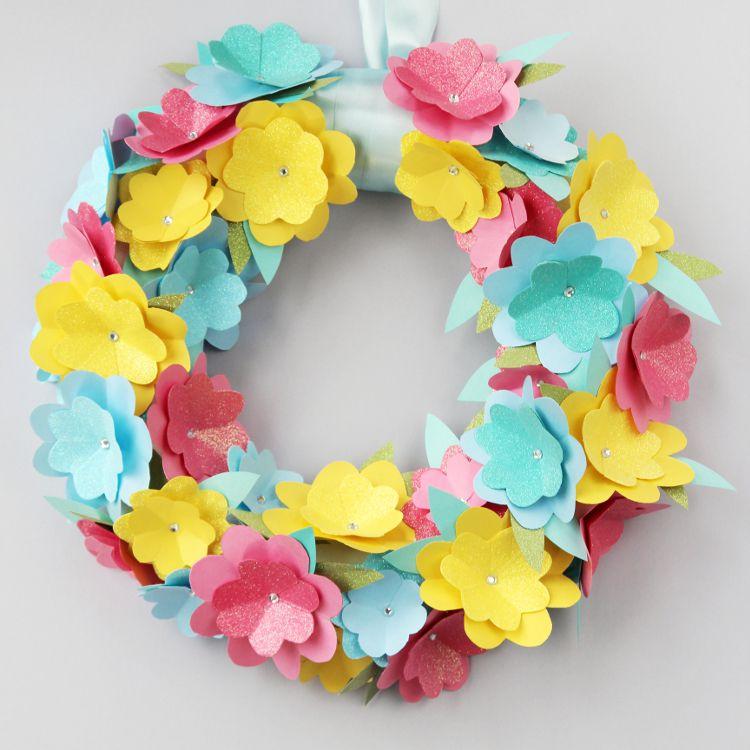 DIY Cut Out Flowers Wreath