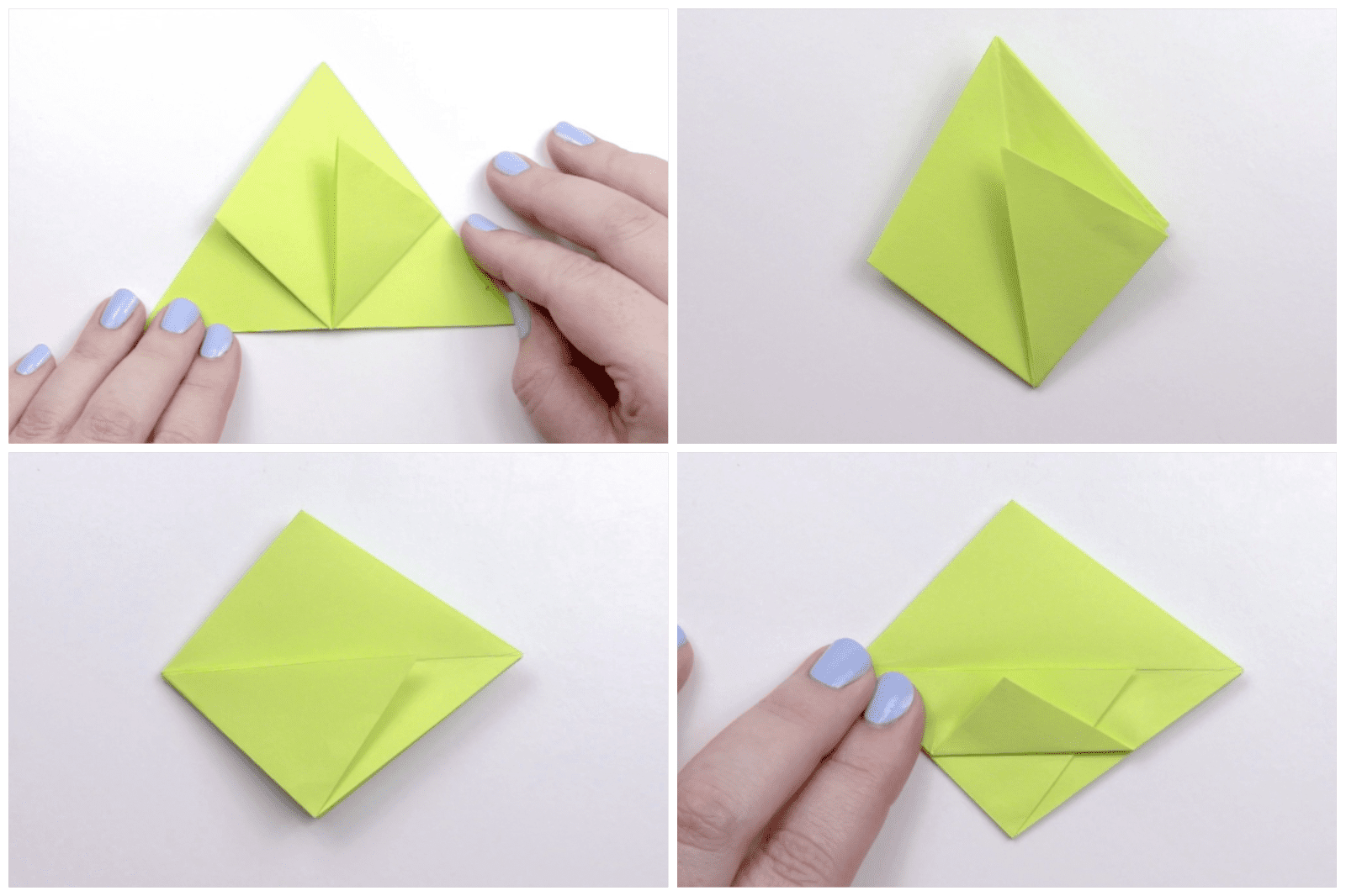 Folding the paper into a diamond shape.