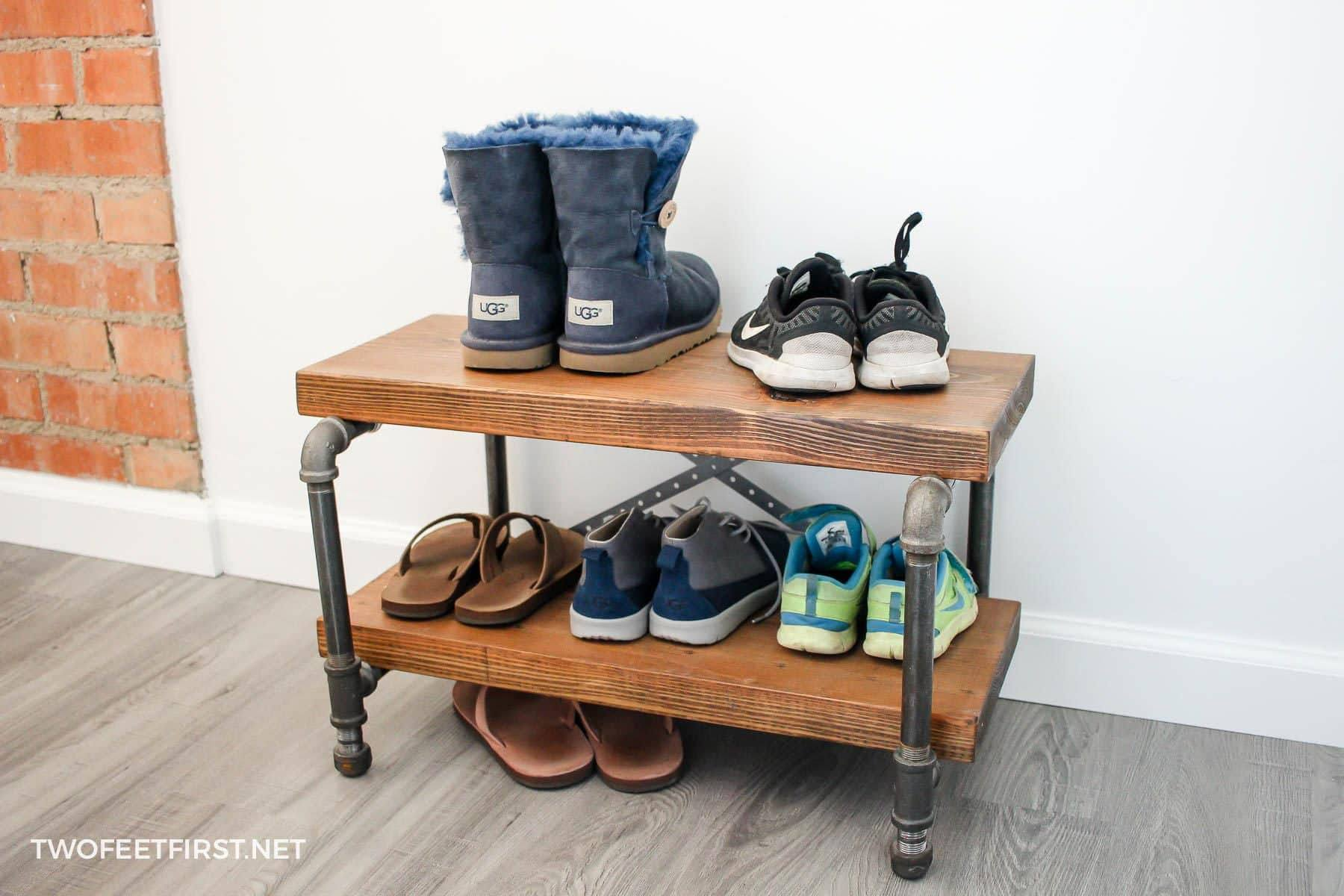 A wooden and metal shoe rack