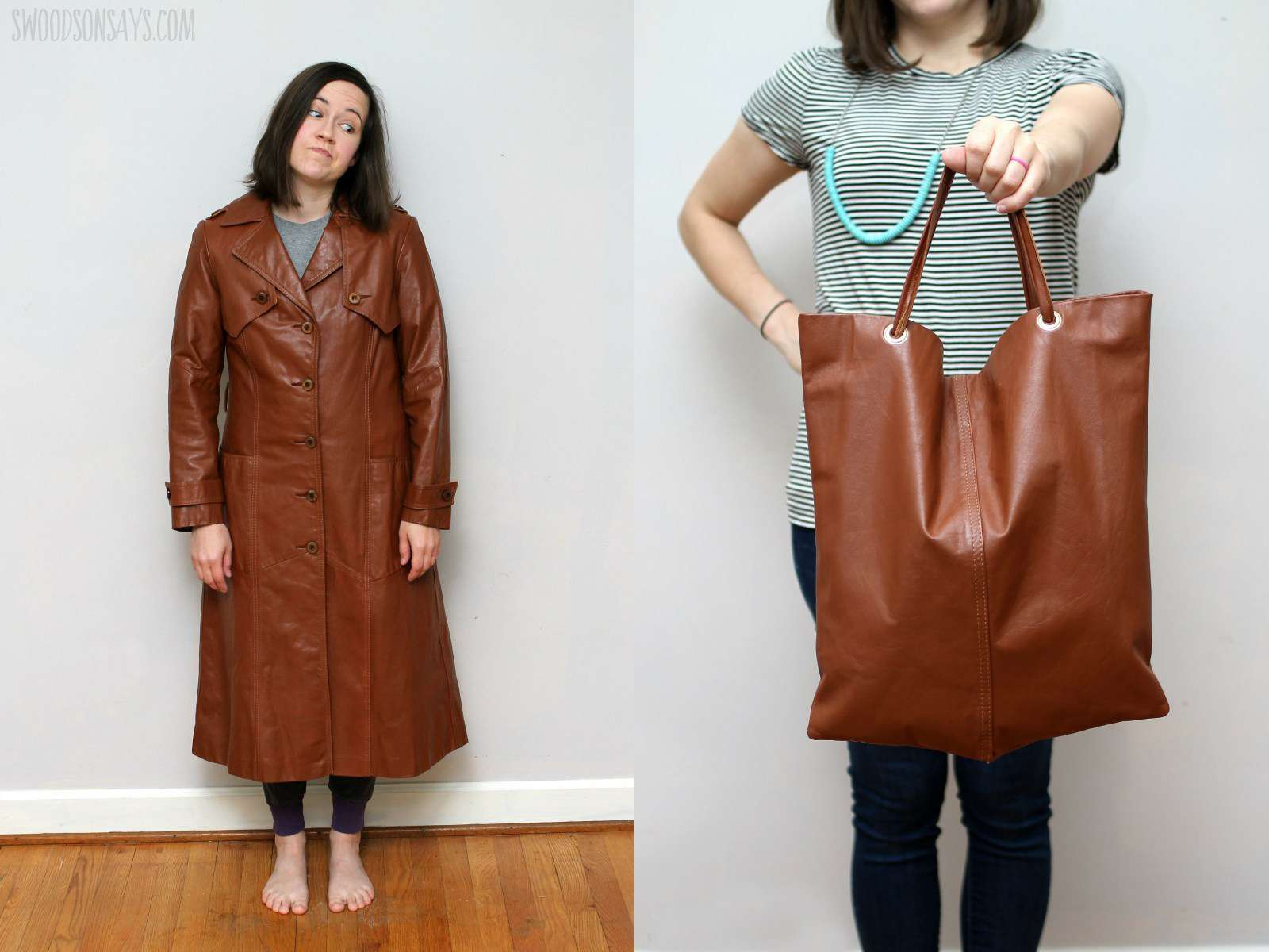 DIY Leather Tote Bag Made From a Thrifted Leather Coat