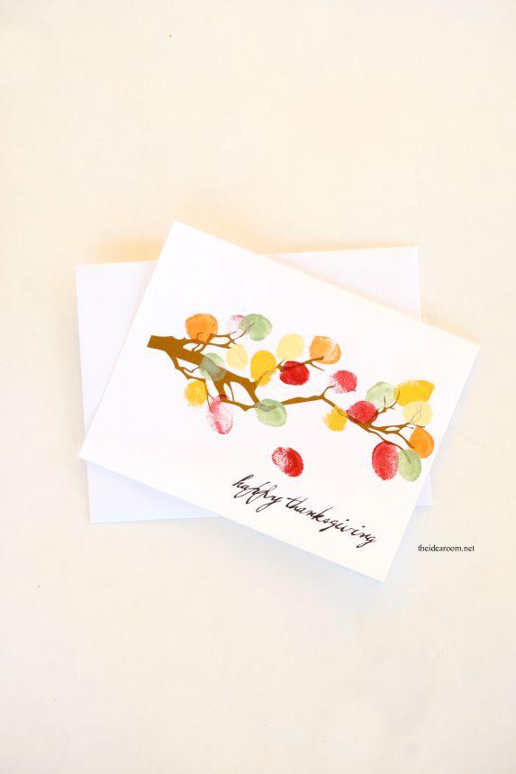 A thumbprint Thanksgiving card