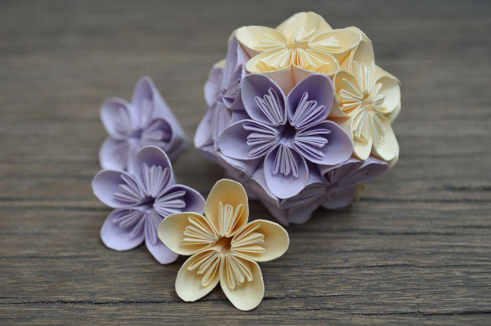 Purple and yellow origami kusudama flower