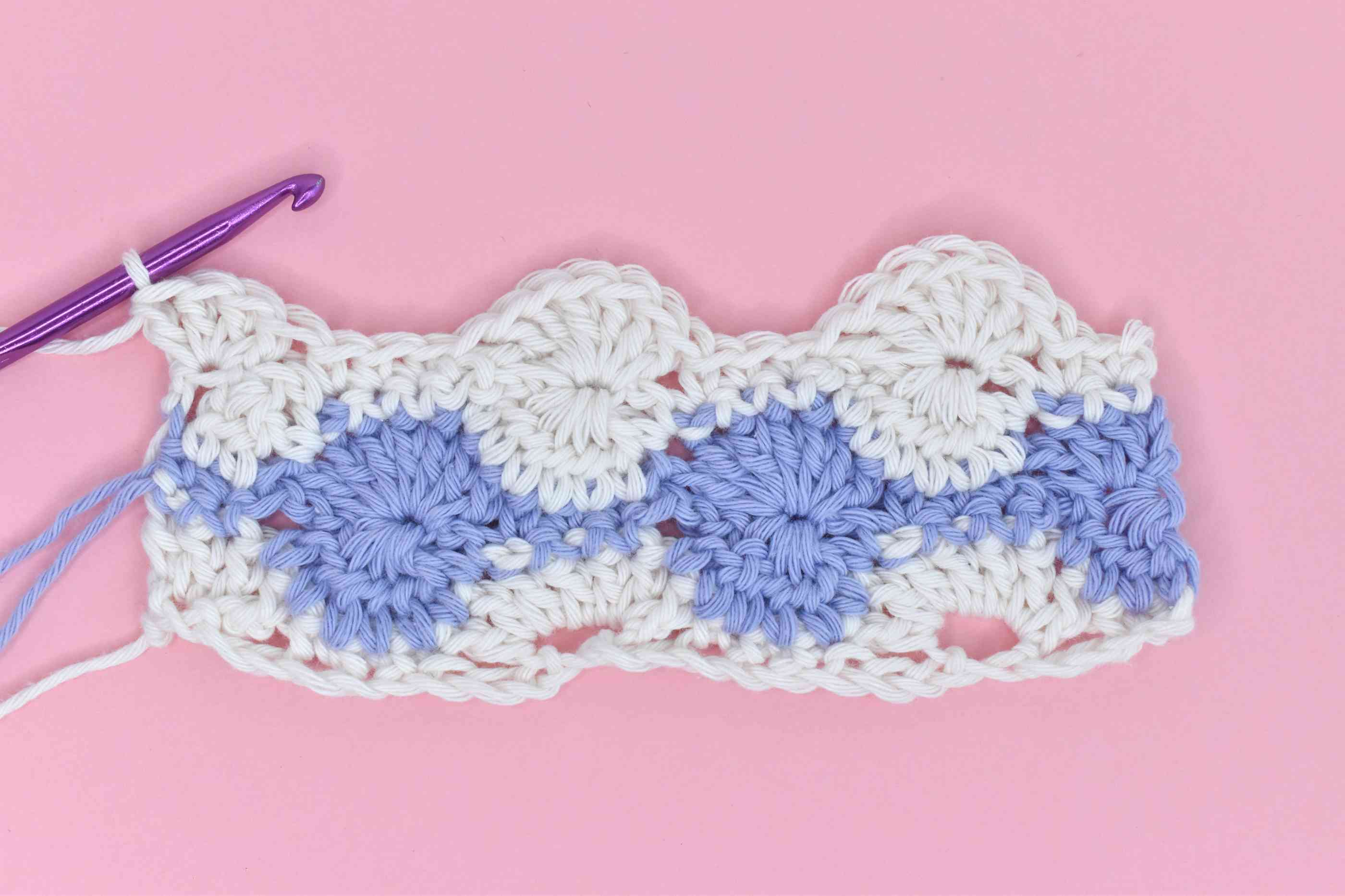 Row 5 of Catherine's Wheel Crochet Stitch