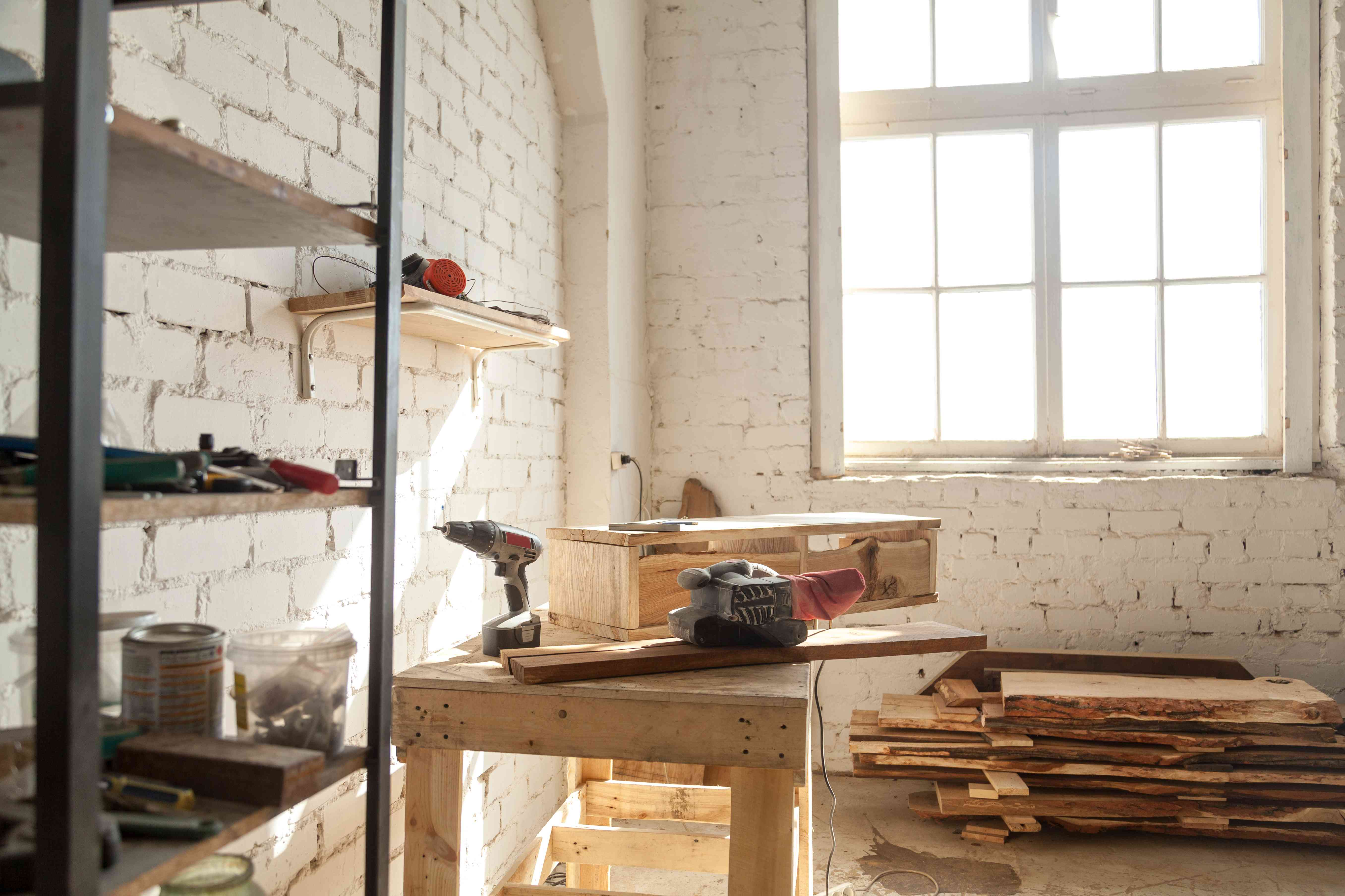 Carpentry workshop interior, joinery shop with tools equipment for woodwork