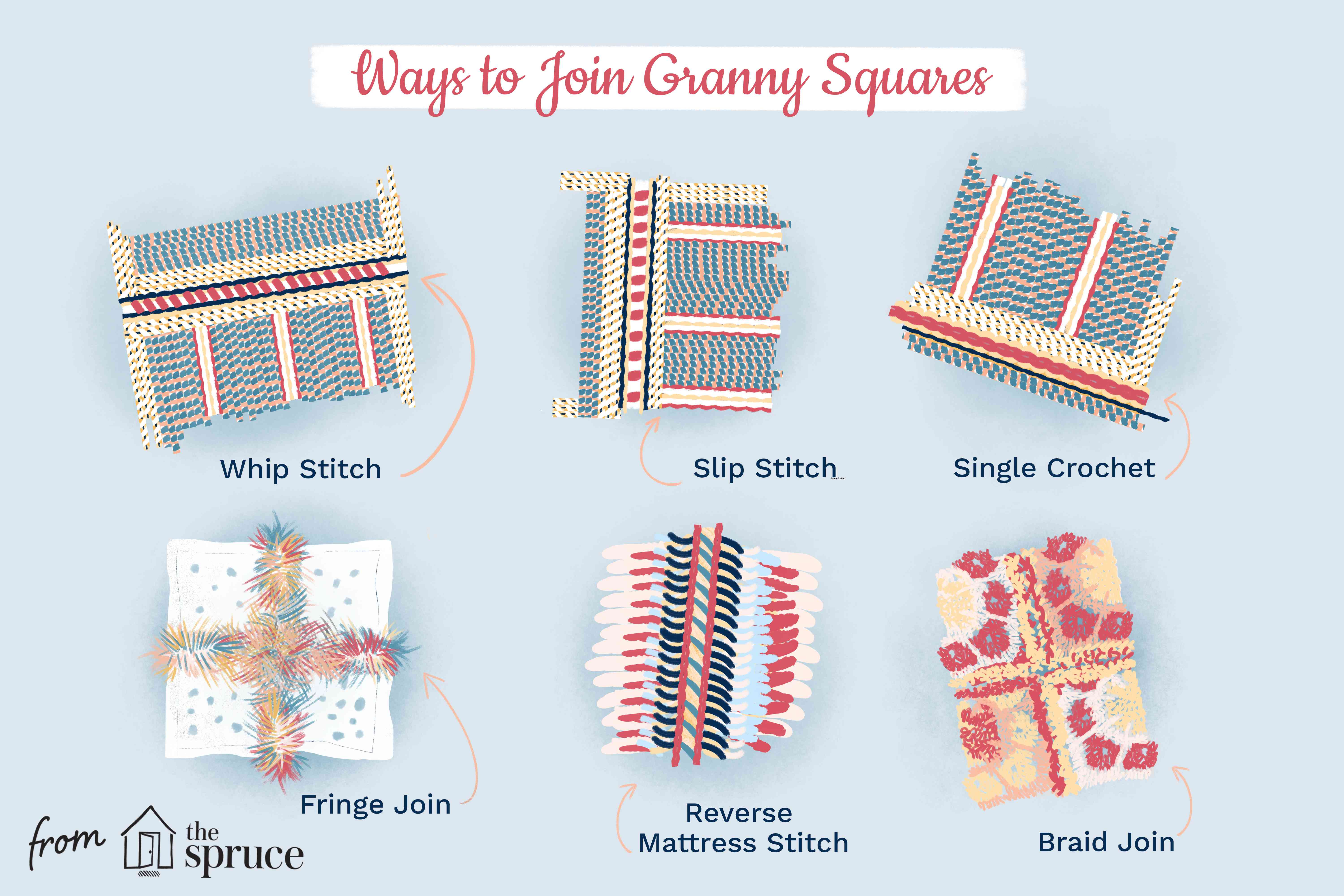 Illustration of ways to join granny squares.