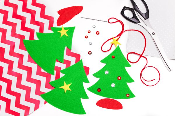 High Angle View Of Christmas Art Decorations