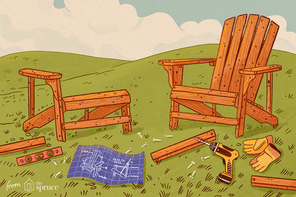 Illustration of Adirondack chairs being built