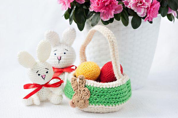 DIY crochetedwhite easter bunnies