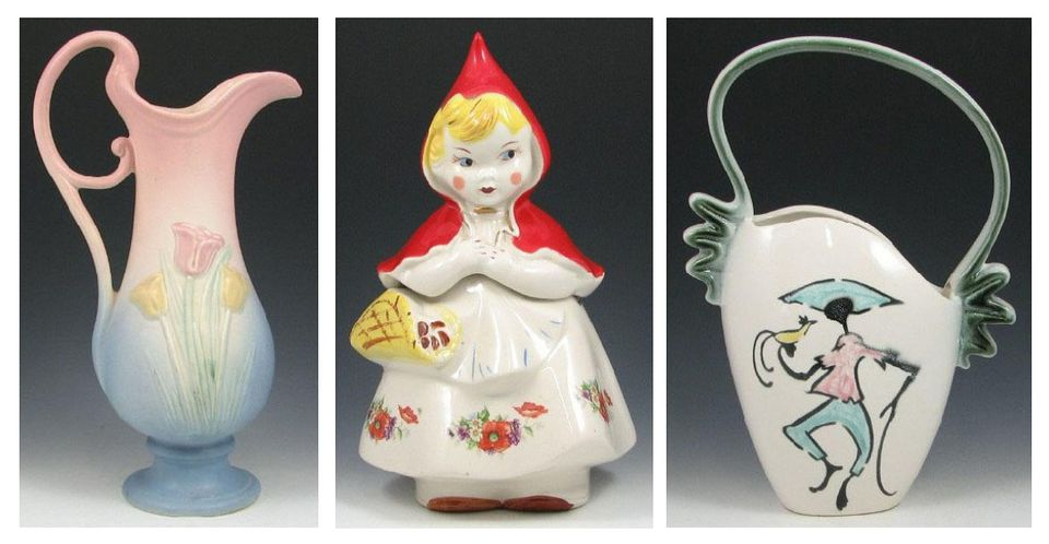 Hull Pottery (l-r): Tulip matte pastel pitcher; original Red Riding Hood Cookie Jar; Tropicana basket