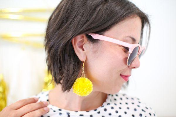 DIY Pompom Dangle Earrings