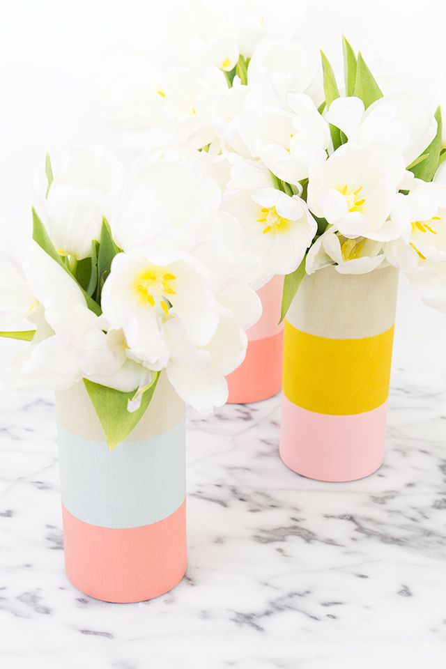 DIY Color Blocked Wood Vase