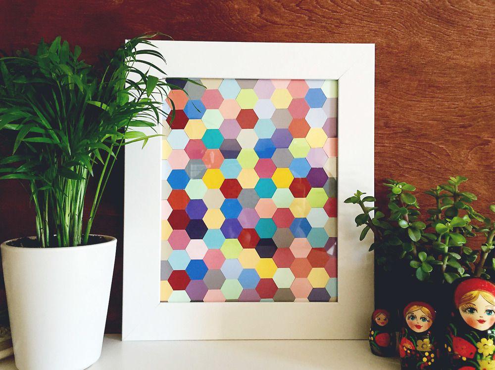 geometric paint chip art