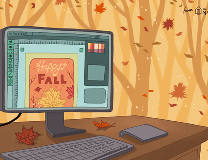 computer with fall clip art illustration