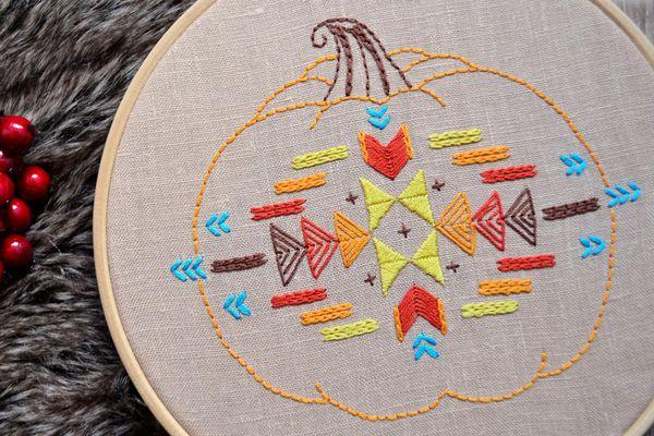Patterned Pumpkin Embroidery Design