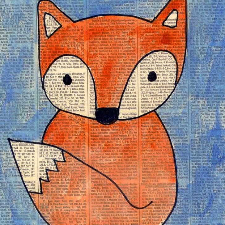 fox painting on newspaper