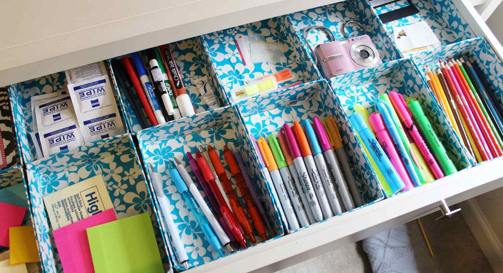 duct tape drawer organizers