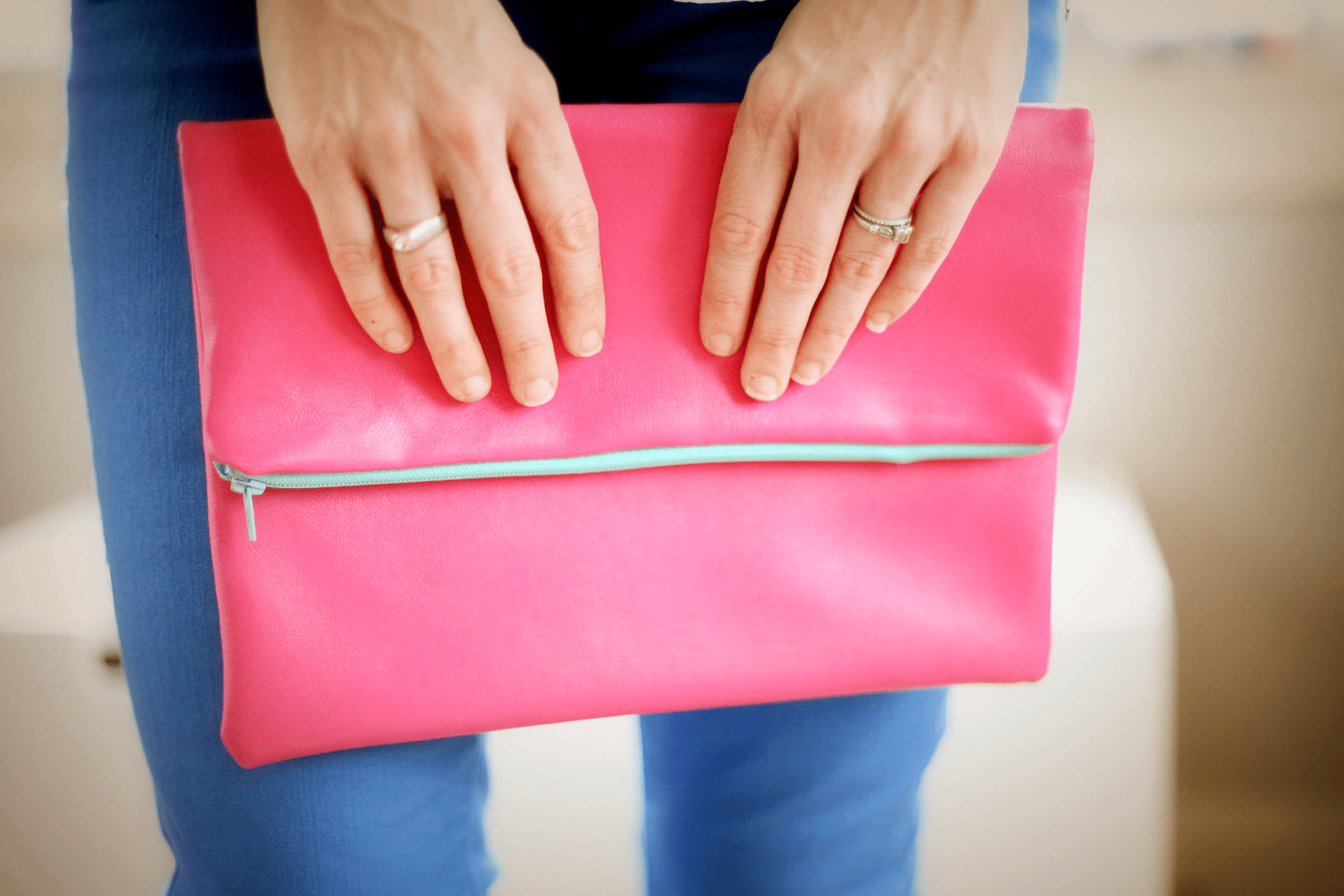 DIY Fold Over Leather Clutch