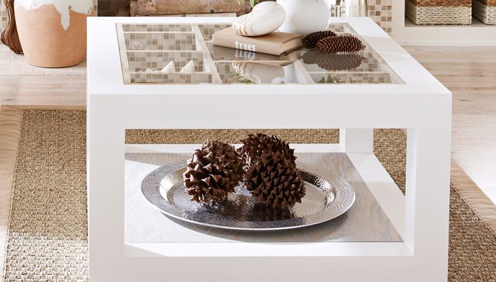 A white display coffee table.